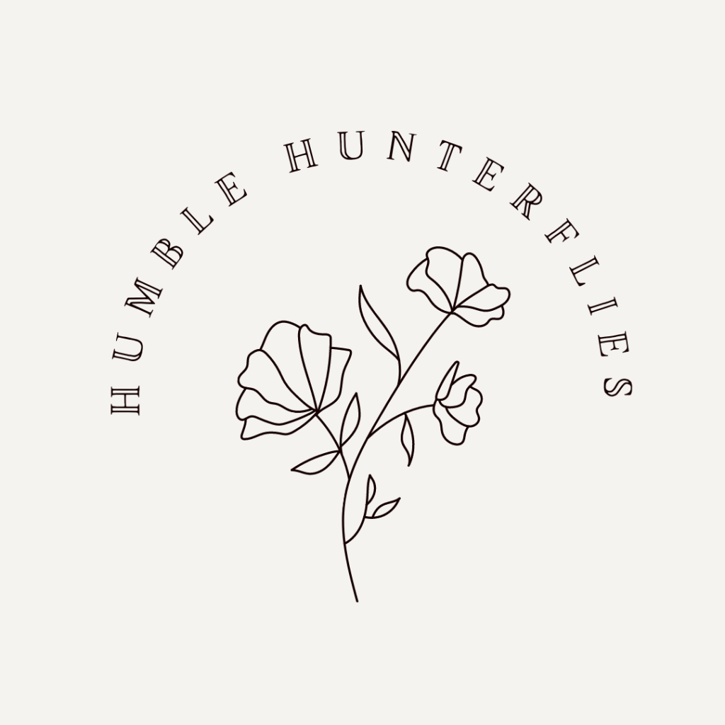 """line illustration of flowers with text that reads """"Humble Hunterflies"""""""