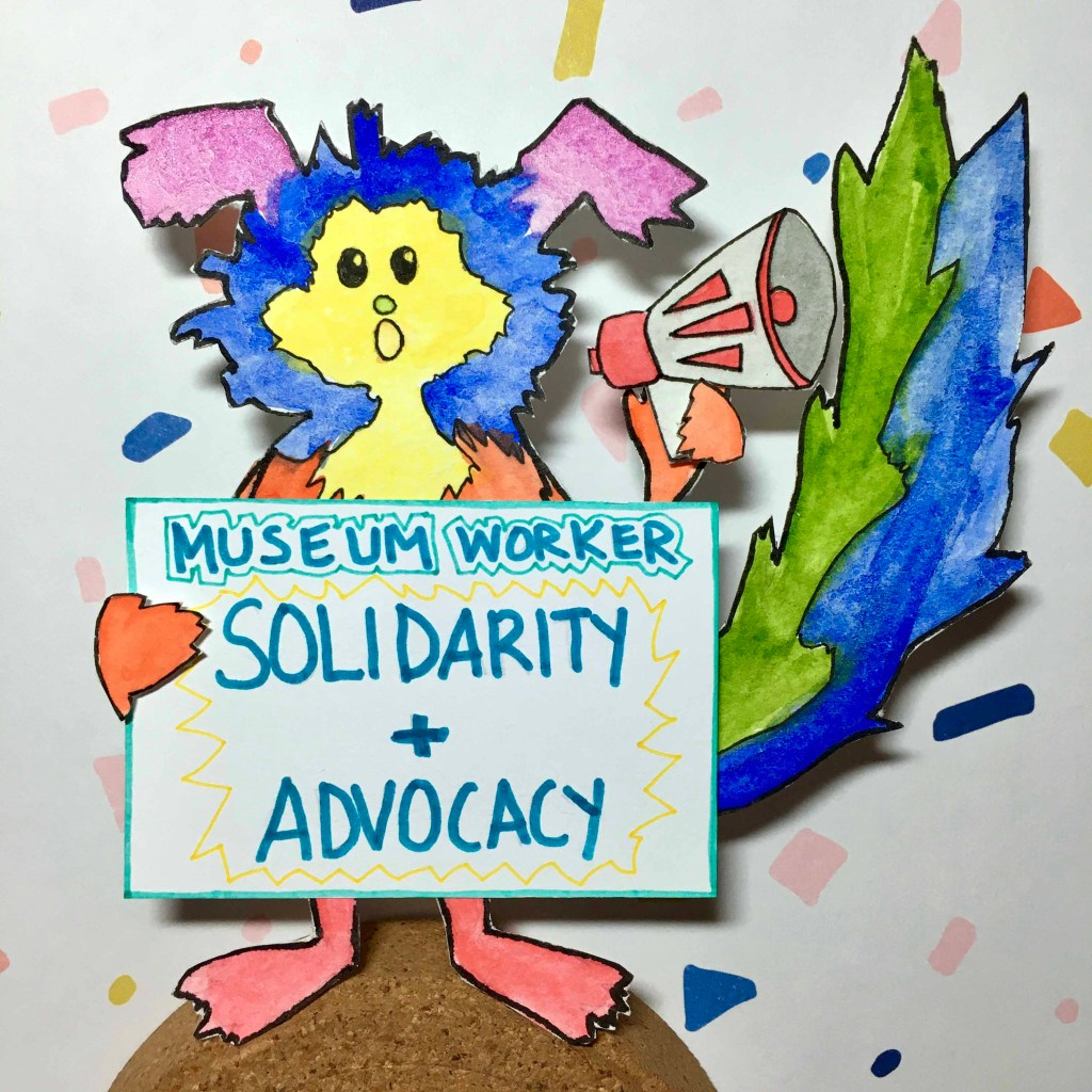 Marabou holds a sign for worker solidarity