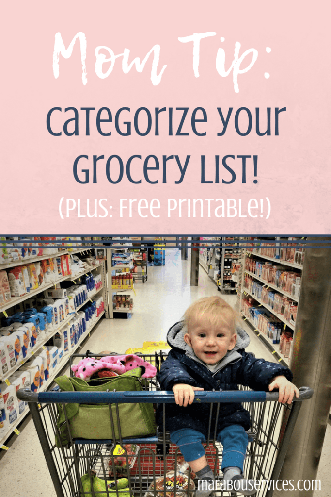 Mom Tip: Grocery List Categories