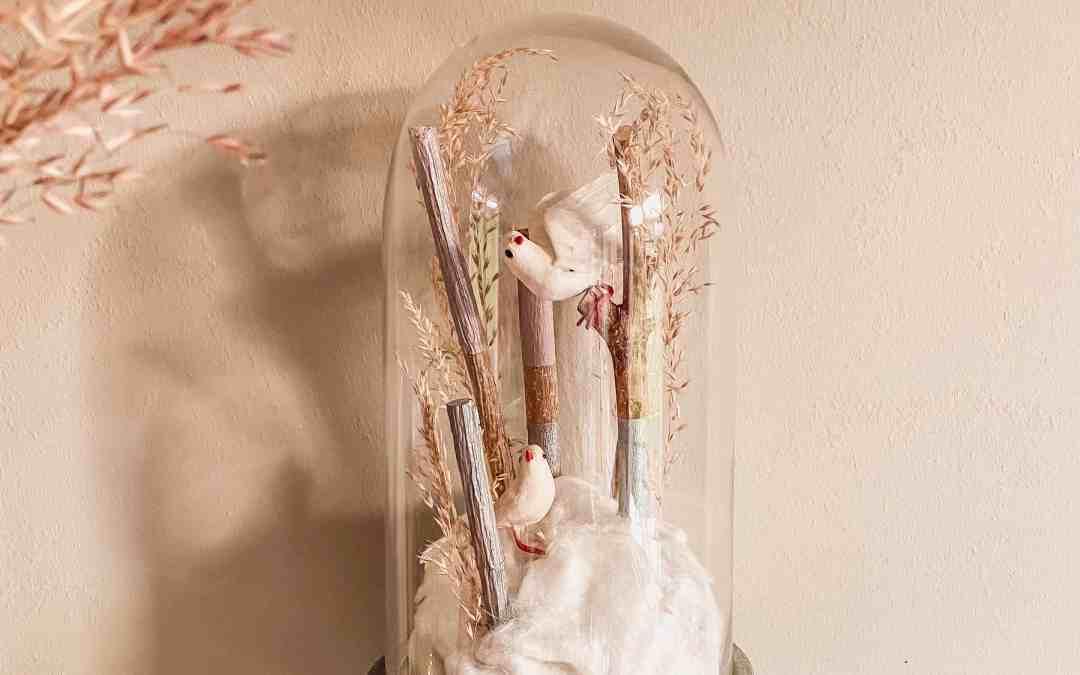 diy glasglocke dekorieren mit naturmaterialien