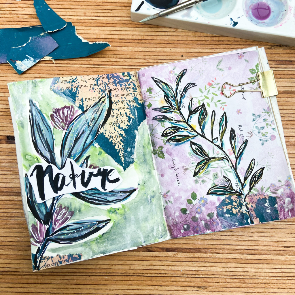 art journal seite, inspiration, natur, florales