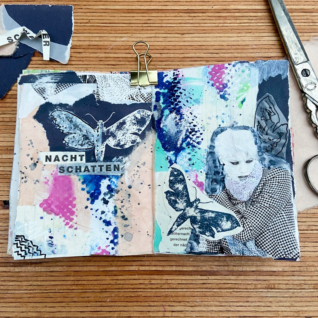 art journal seite, inspiration, papier collage