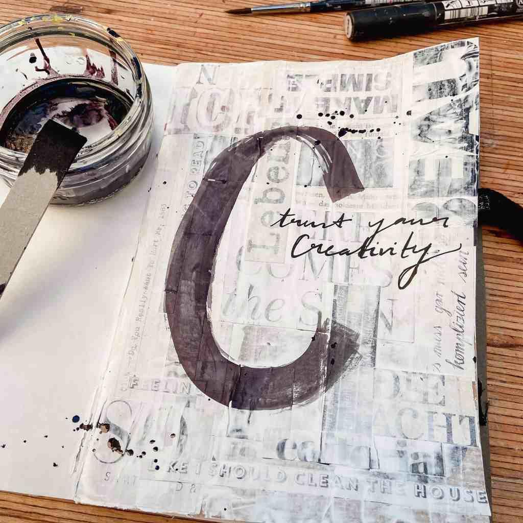 art journaling trifft kalligraphie collage