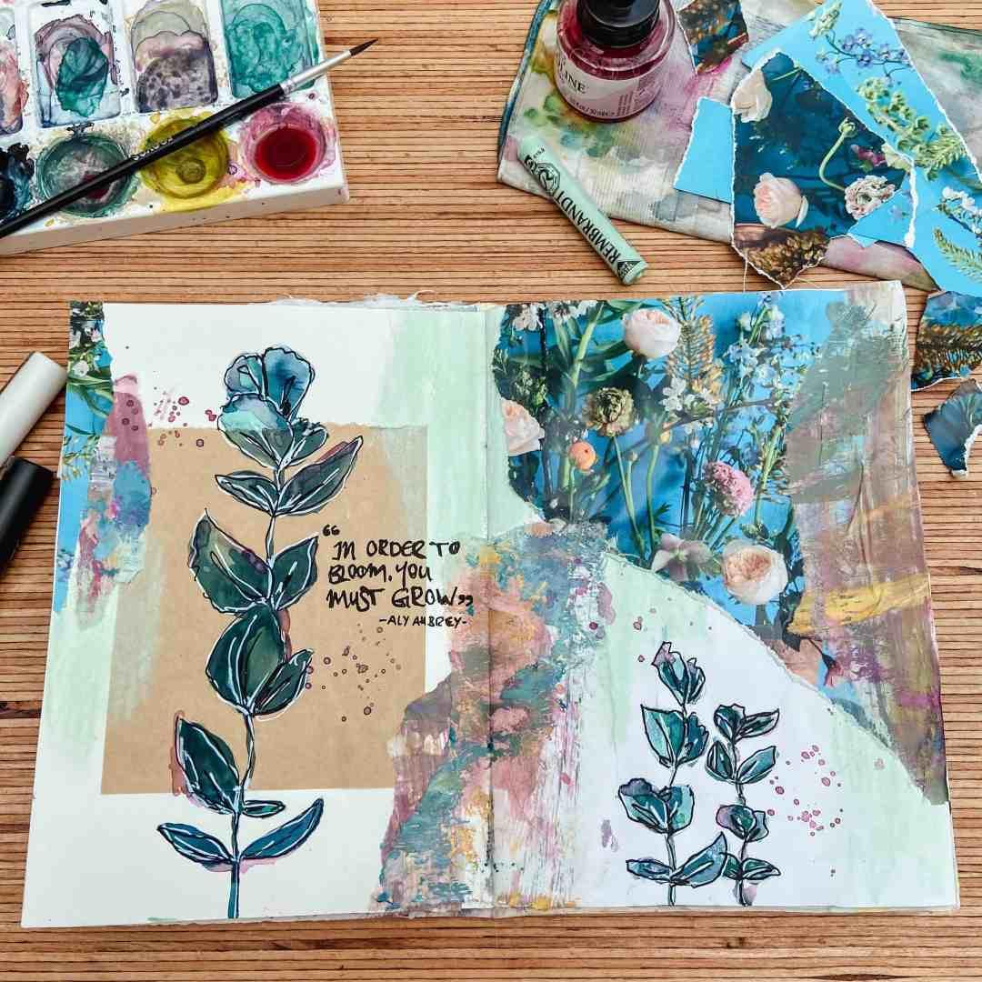 art-journaling-ideen-floral