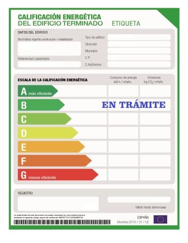 Certificado energético en trámite