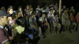 The village gathered for a screening in Tupén