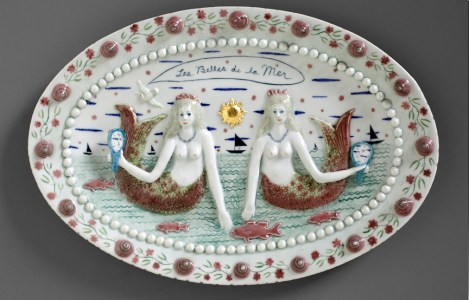 "Mara Superior, ""Les Belles de la Mer"", 2012, 13"" x 19"" x 2"", high-fired porcelain, gold leaf."