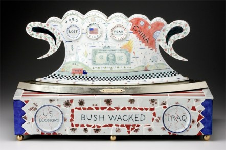 "Bushwacked, 2008, 18"" x 27"" x 12"", porcelain, brass, bone, ink. Photo: John Polak In the collection of; Dr. Paul and Melinda Sullivan"