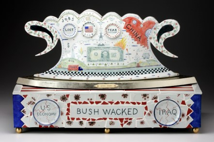 "Mara Superior, ""Bushwacked"", 2008, 18 x 27 x 12"", high-fired porcelain, ceramic oxides, underglaze, glaze, gold and silver leaf, wood, brass, antique ivory."