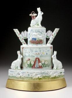 "Mara Superior, ""A Spring Dream (Rabbit Teapot)"", 2008, 16 x 17 x 6"", high-fired porcelain, ceramic oxides, underglaze, glaze, wood, gold leaf. Fuller Craft Museum (2018.25)."