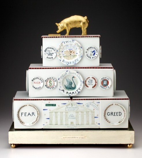 "Mara Superior, ""Piggy Bankers/The Great Recession of 2008"", 2009, 24 x 22 x 9.5"", high-fired porcelain, ceramic oxides, underglaze, glaze, wood, white gold leaf, gold leaf, bone, ink, brass. The Chipstone Foundation."