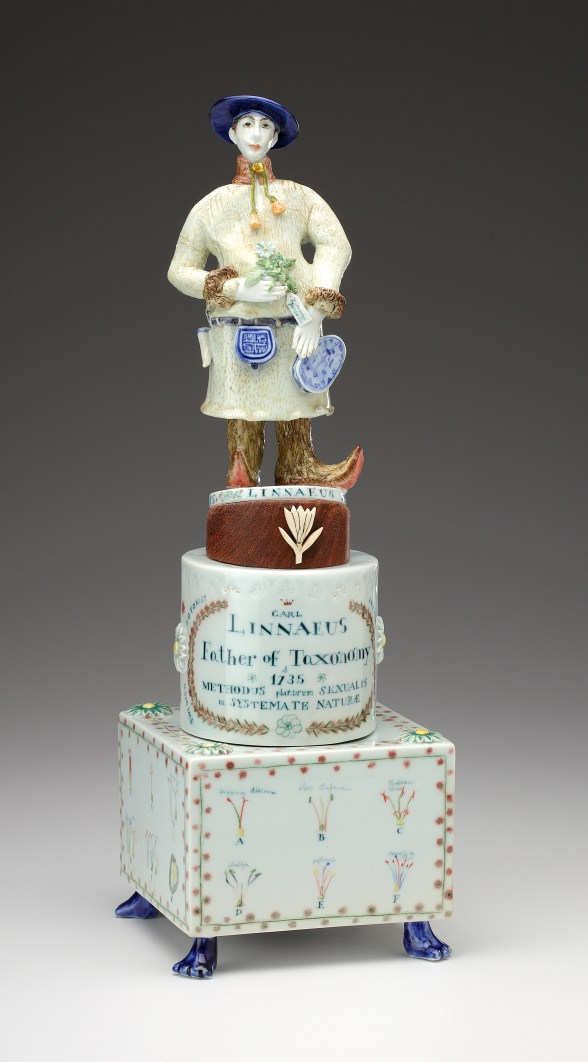 "Mara Superior, ""Linnaeus Father of Taxonomy"", 2010, 16 x 6 x 6"", high-fired porcelain, ceramic oxides, underglaze, glaze."