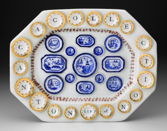 "Mara Superior, ""A Collection of Canton China"", 2015, 13 x 16 x 2.5"", high-fired porcelain, ceramic oxides, underglaze, glaze, gold leaf."