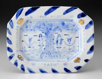 "Mara Superior, ""In the Garden: The West"", 2015, 7 x 9 x 2"", high-fired porcelain, ceramic oxides, underglaze, glaze, gold leaf."