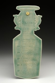 "Mara Superior, ""A Collection: The Celadons"", 2016, 14 x 17.5 x 1.5"" (platter); 10.5 x 4 x .5"" (key), high-fired porcelain, ceramic oxides, underglaze, celadon glazes, gold leaf. Peabody Essex Museum of Art."