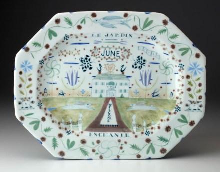"Mara Superior, ""June Platter"" 2016, 12.5 x 16.5 x 1.5"", high-fired porcelain, ceramic oxides, underglaze, glaze."