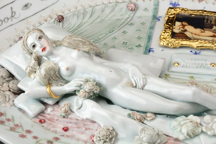 "Mara Superior, ""Venus of Urbino Revived"", 2018, 13 x 19 x 1.75"", high-fired porcelain, ceramic oxides, underglaze, glaze, gold leaf, decal, detail. Chazen Museum of Art (2019.1)."