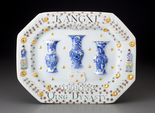 "Mara Superior, ""Kangxi Period, Qing Dynasty/A Collection"", 2018, 12.5 x 15.5 x .5"", high-fired porcelain, ceramic oxides, underglaze, glaze, gold leaf. The Frick Pittsburgh."