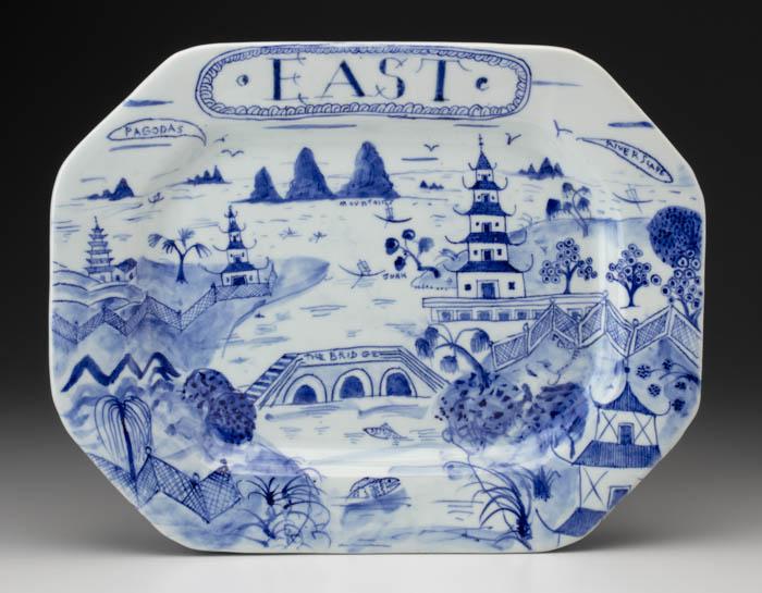 "Mara Superior, ""East Platter"", 2018, 12.25 x 15.75 x 1.5"", high-fired porcelain, ceramic oxides, underglaze, glaze, gold luster."