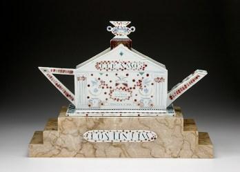 "Mara Superior, ""Tea Temple Teapot"", 1998, 18 x 23.5 x 7.5"", high-fired porcelain, ceramic oxides, underglaze, glaze, wood, faux marble paint, brass pins. Everson Museum of Art."