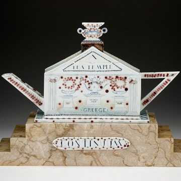 """Tea Temple Teapot"", 1998, 18 x 23.5 x 7.5"", high-fired porcelain, ceramic oxides, underglaze, glaze, wood, faux marble paint, brass pins."
