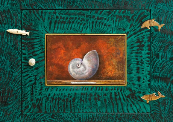 """Sea of Plenty: Roy & Mara Superior Collaborative Cabinet"", 2008, 84 x 33.5 x 19"", high-fired porcelain, ceramic oxides, underglaze, glaze, wood, gold leaf, bone, ink, egg tempera, shell."