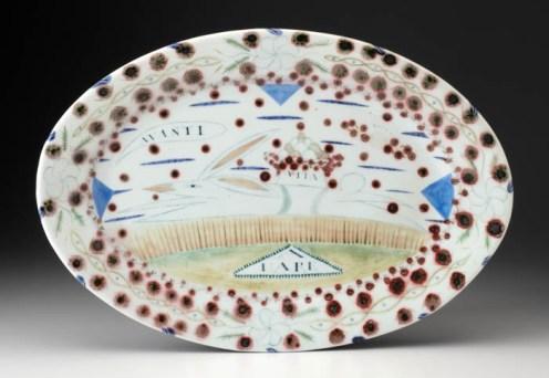 """Mara Superior, """"A Hare"""", 1990, 18 x 12 x 1"""", high-fired porcelain, ceramic oxides, underglaze, glaze."""