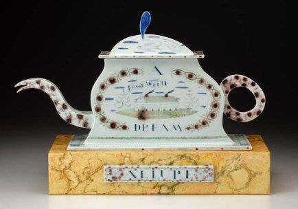 """Allure, A Dream House"", 1996, 15.5 x 22 x 7"", high-fired porcelain, ceramic oxides, underglaze, glaze, faux marble paint, wood, brass pins. Bennington Museum of Art (2019.1.3.a-c)."