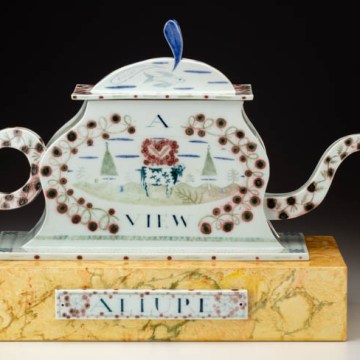 """Allure, A Dream House"", 1996, 15.5 x 22 x 7"", high-fired porcelain, ceramic oxides, underglaze, glaze, faux marble paint, wood, brass pins."
