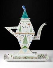 "Mara Superior, ""Trees/ Forrest/ Tea Tea Time"", 1985, 19.75 x 16 x 9"", high-fired porcelain, ceramic oxides, underglaze, glaze."