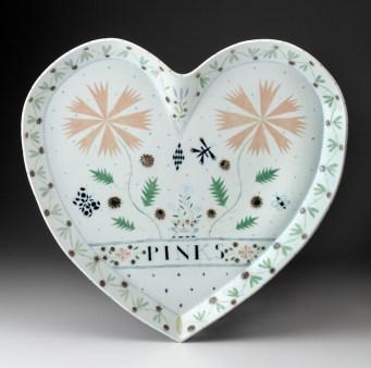 "Mara Superior, ""Largest Heart Platter"", 1989, 20 x 19.5 x 1.5"", high-fired porcelain, ceramic oxides, underglaze, glaze."