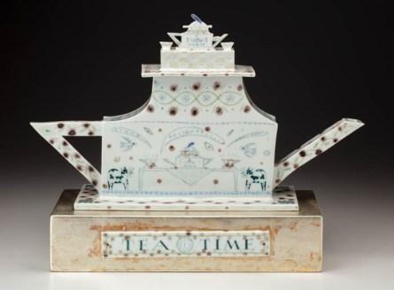 "Mara Superior, ""Afternoon Tea"", 1996, 14 x 19 x 6.5"", high-fired porcelain, ceramic oxides, underglaze, glaze."