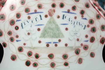 "Mara Superior, ""Pair of Love Birds Vases"", 1990, 11.25 x 13.5 x 5"" (each), high-fired porcelain, ceramic oxides, underglaze, glaze."