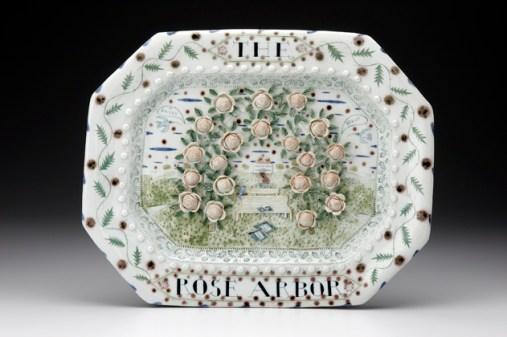 """Mara Superior, """"Rose Arbor"""", 1998, high-fired porcelain, ceramic oxides, underglaze, glaze."""