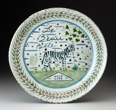 "Mara Superior, ""Le Beaux Bete"", 2002, 16 x 16 x 2"", high-fired porcelain, ceramic oxides, underglaze, glaze."