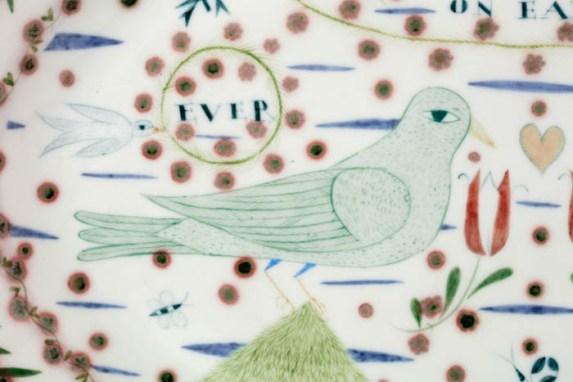 "Mara Superior, ""Peace on Earth"", 2003, 13 x 19 x 2"", high-fired porcelain, ceramic oxides, underglaze, glaze."