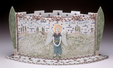 "Mara Superior, ""Angelo Da Vendemmia - Castle Vase"", 2002, 11 x 21 x 10"", high-fired porcelain, ceramic oxides, underglaze, glaze. Hood Museum of Art (2019.14.2)."