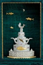 "Roy & Mara Superior, ""Sea of Plenty"", 2008, 84 x 33 x 16"", high-fired porcelain, ceramic oxides, underglaze, glaze, wood, gold leaf, bone, ink, egg tempera, brass pins, mother of pearl, shells. Peabody Essex Museum."