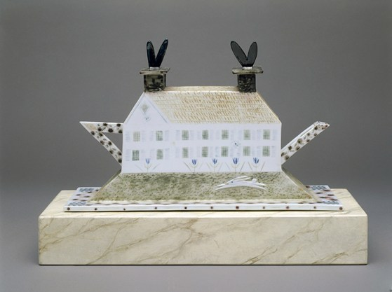 "Mara Superior, ""A Dream House"", 1998, high-fired porcelain, ceramic oxides, underglaze, glaze, 13 x 18 x 10"". Museum of Art and Design, Gift of Melinda and Paul Sullivan, 1999, (1999.21a-d)."