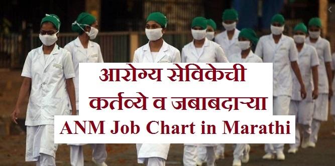 आरोग्य सेविकेची कर्तव्ये, जबाबदाऱ्या, ANM Job Chart in Marathi, Sister Job Chart in Marathi, Sister chi kame, Nurse chi kame, सिस्टर ची कामे