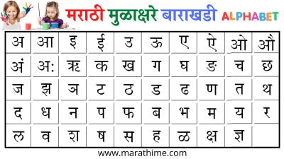 मराठी बाराखडी   Marathi Barakhadi