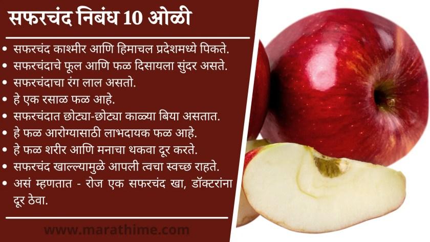 सफरचंद निबंध 10 ओळी-10 Lines on Apple in Marathi