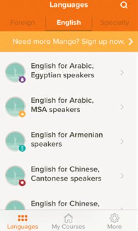 application mango pour apprendre anglais