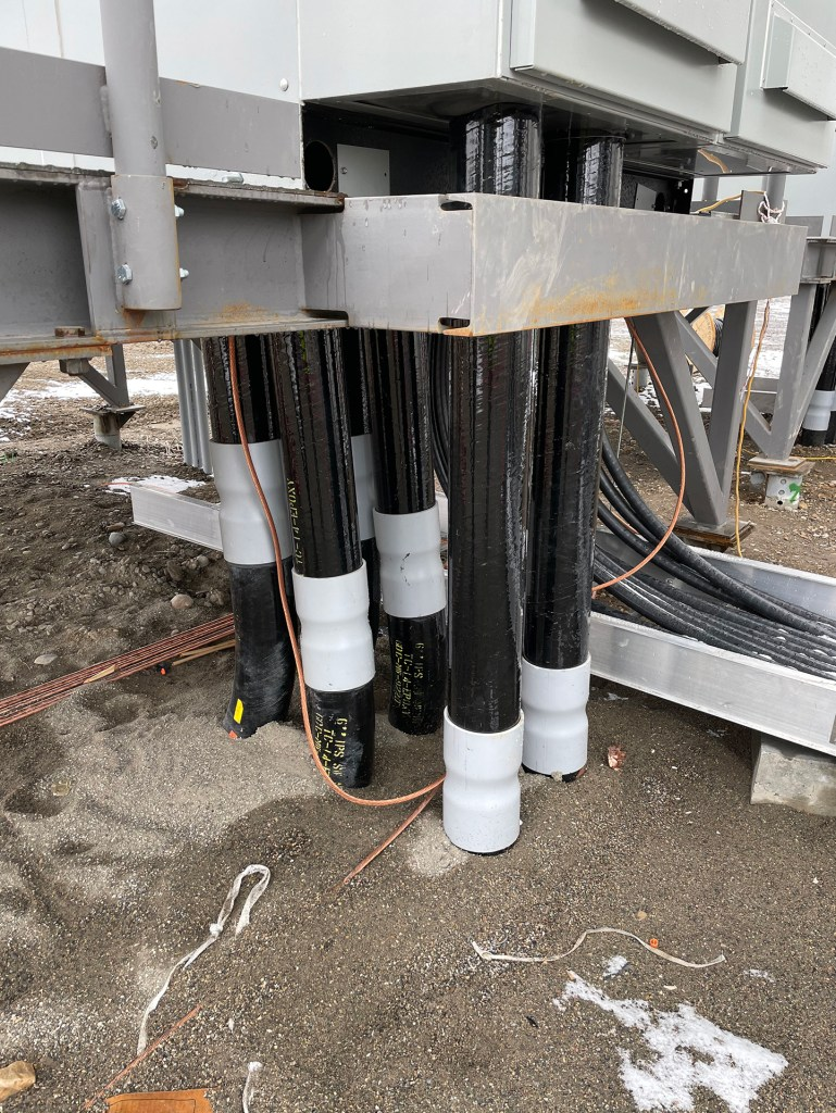 Photo of Hardin, Montana data center. Exterior close-up on power cables.