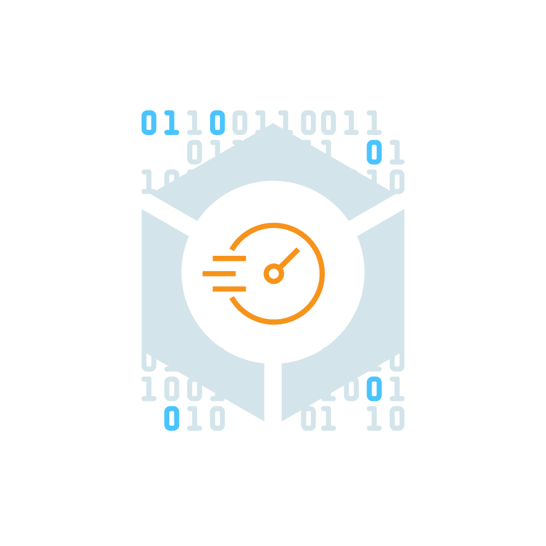Graphical representation of a computer solving a puzzle for a block of transactions.