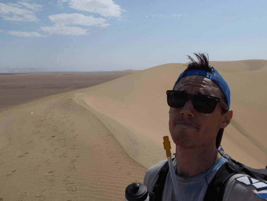 Proper sand dunes - not actually as hard to run on as my face suggests...
