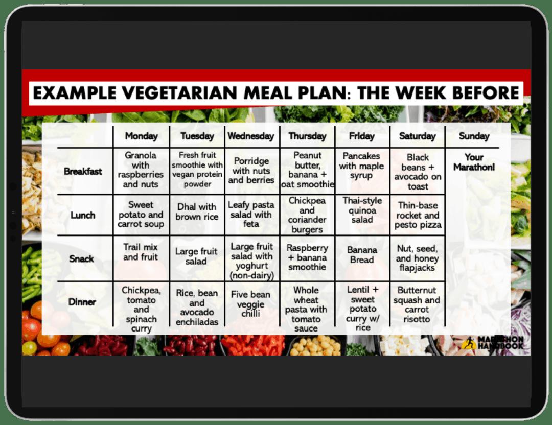 diet a week before marathon