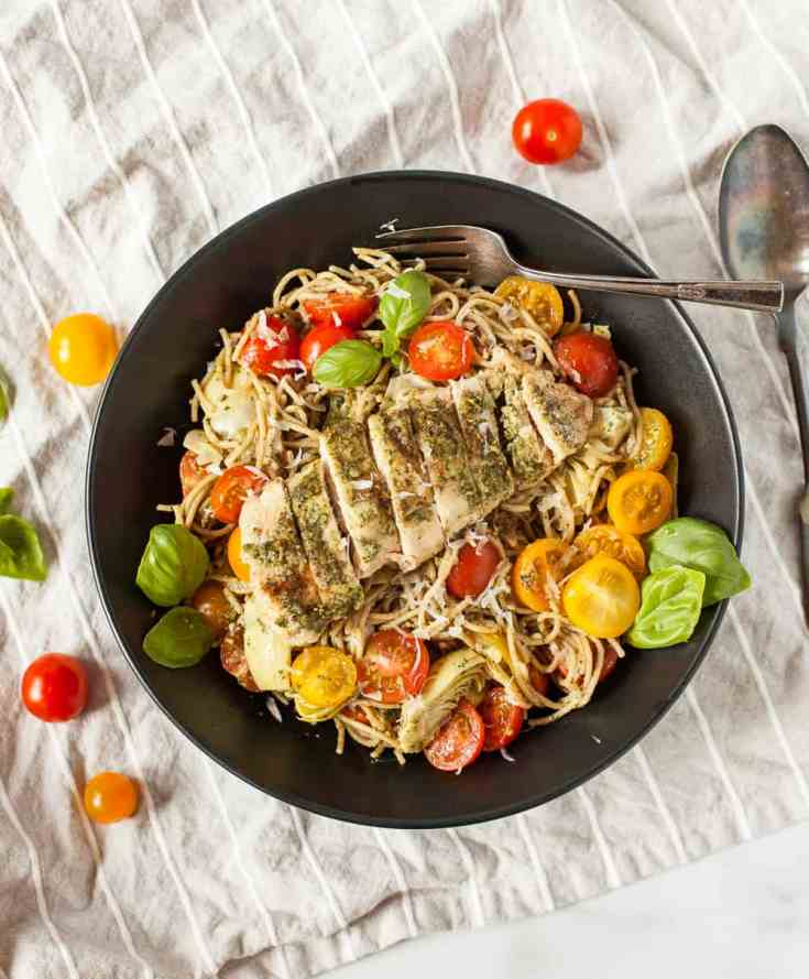 Healthy Grilled Chicken Pesto Pasta