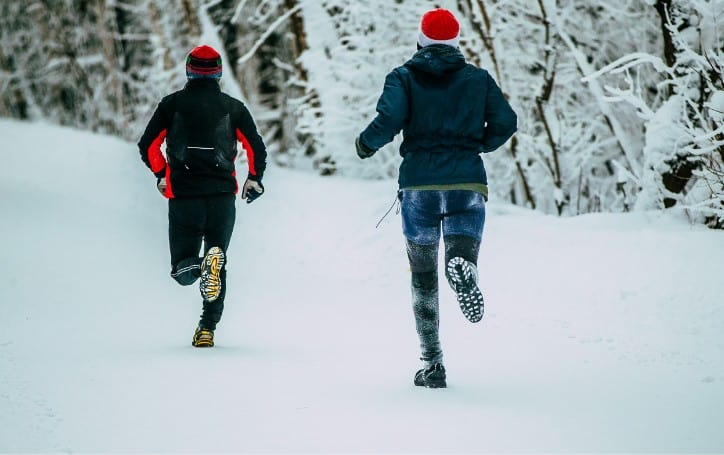 running in the snow and ice