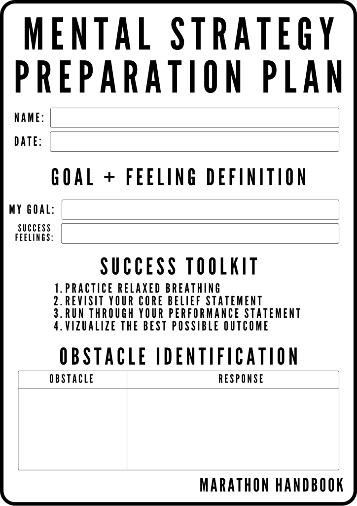 mental strategy preparation plan